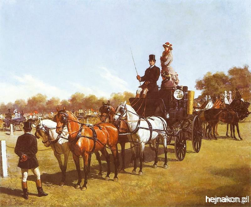 Konkurs zaprzęgów  na Placu Ujazdowskim w roku 1881; zródło: Muzeum Łowiectwa i Jeździectwa